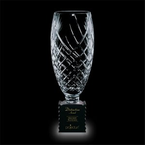 Benaglio Trophy - Crystal with Optical Black Glass Base 14?in
