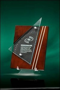 Premiera Plaque With Cherry Stained Wood And Jade Crystal