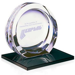 High Tech Crystal Award on Ebonite Base - Large