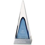 Art glass on Aluminum Base Blue Pyramid - Large Art Glass Awards, Crystal Awards, Awards and Trophies, Corporate Awards, Sales Awards, recognition award, art glass, award, corporate award, corporate gift, etched, engraved award, personalized,