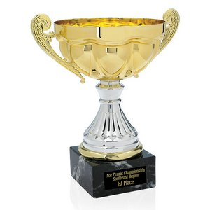 Scalloped Trophy on Marble Base - 10 in.