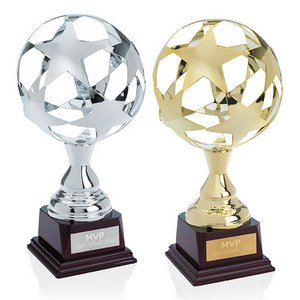 All Star Trophy Metallic Sphere in Gold or Silver on Wood Base