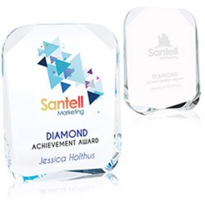 Beveled Corners Crystal Award - Large