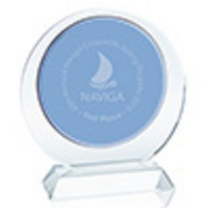 Duo Circle Blue and Clear Optical Crystal Sales Award