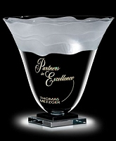custom logo engraved crystal vase