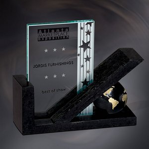 Checkmark with World Graphic Ebony Stone Award