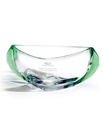 Orbit Clear Optic Crystal Bowl with Emerald Accents