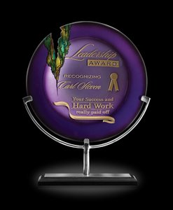 Venus Amethyst Art Glass Award Plate