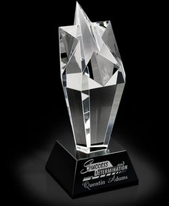 Starglow Black and Clear Optical Crystal Award