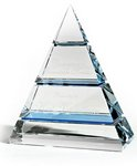 Tiered Pyramid Clear Optic Crystal with Sapphire Crystal Accents