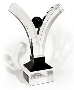 Celebration Award in Crystal with Black Accents