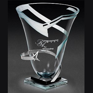 Orbiting Star Glass Vase Award with Metal Star Accent
